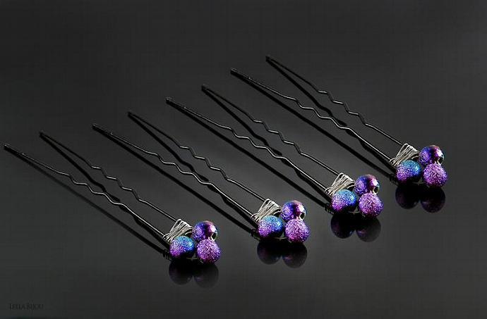 Rainbow Hair Pins Set of Six