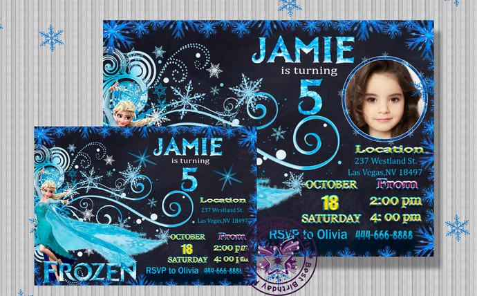 Frozen Birthday Invitation With Photo Frozen Birthday Party Frozen Invitation Frozen Birthday Frozen Invites Elsa Birthday Invitation