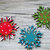 Christmas Ornament Set of 3 Wooden Snowflakes Red/Green/Blue