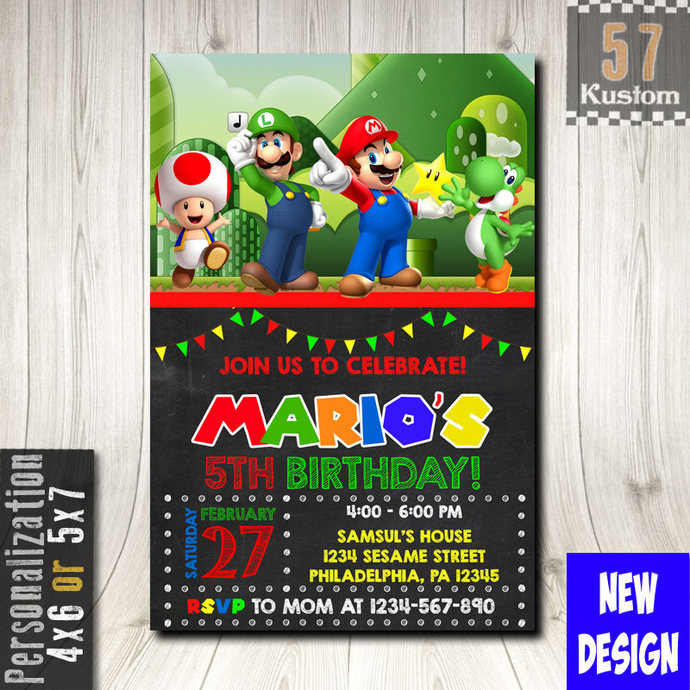 Super Mario Invitation Super Mario Party Mario By 57kustom On Zibbet