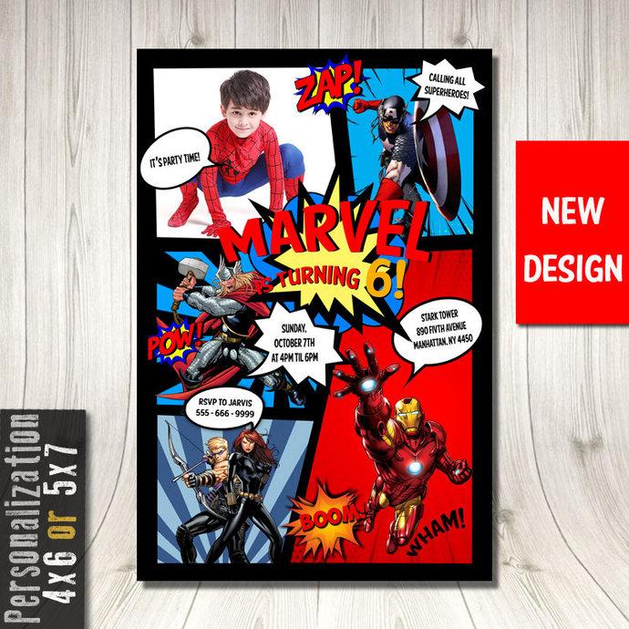 Superhero Invitation With Picture, Superhero Birthday Invitation, Superhero
