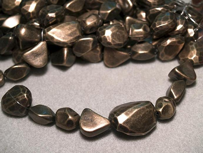 Bold & Brassy-  chunky nugget beads