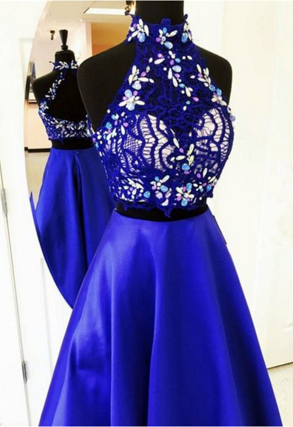 2fd133f0714 by prom dresses. Lovely Two Piece A Line High Neck Open Neck Long Royal  Blue Satin