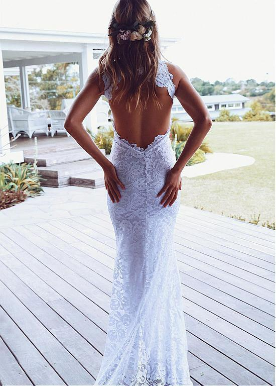 Backless Mermaid Lace Charming Wedding Dress,Long Wedding Dresses,Wedding