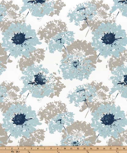 Elegant Fairy Spa Blue Print. Light Blue And White Fabric By Yard. Premier Prints.