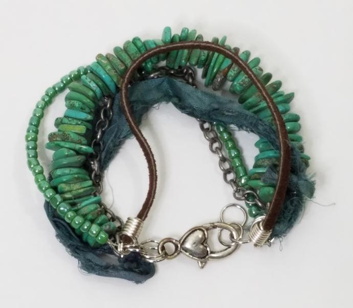 Turquoise Magnestie Gemstone Bracelet, Multi Strand, Bohemian Style