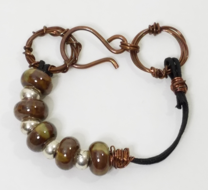Porcelain and Leatherette Bracelet, Hand-Formed Copper Wire Links