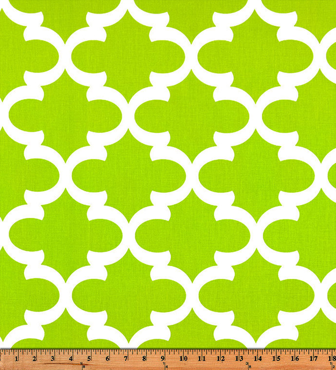 Fynn Chartreuse Print. Chartreuse  and white  Fabric By Yard. Premier Prints.