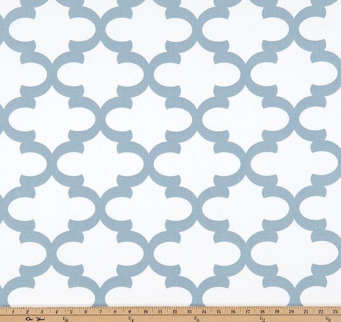 Fynn Cashmere Blue Print. white and Cashmere Blue  Fabric By Yard. Premier