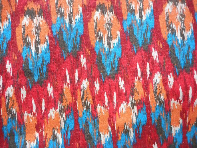 ikat craze poppy print poppy birch fabric by twistedbobbin on
