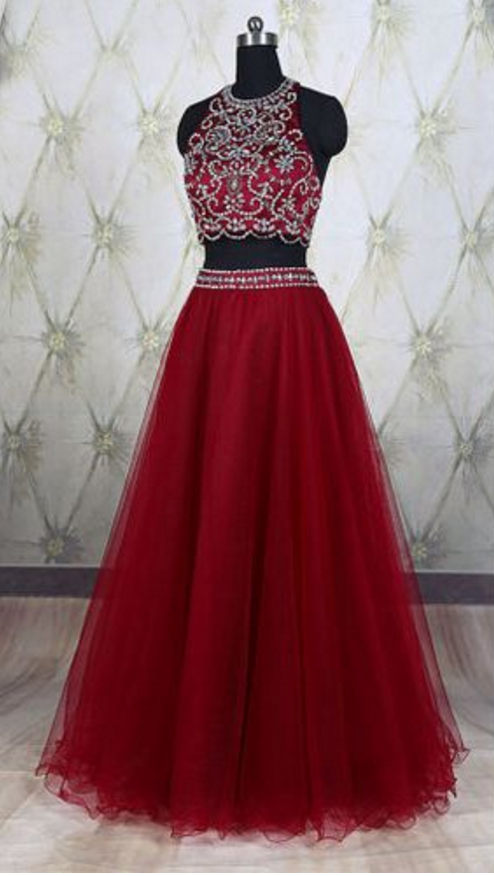 Two Pieces Prom Dress,red prom dress,high by prom dresses on Zibbet