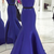 The royal blue two mermaid ball gowns, beaded, sleeveless evening dresses.