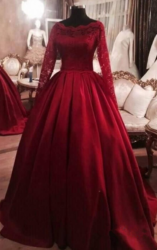 Wine red princess ball gown, lace long by prom dresses on Zibbet