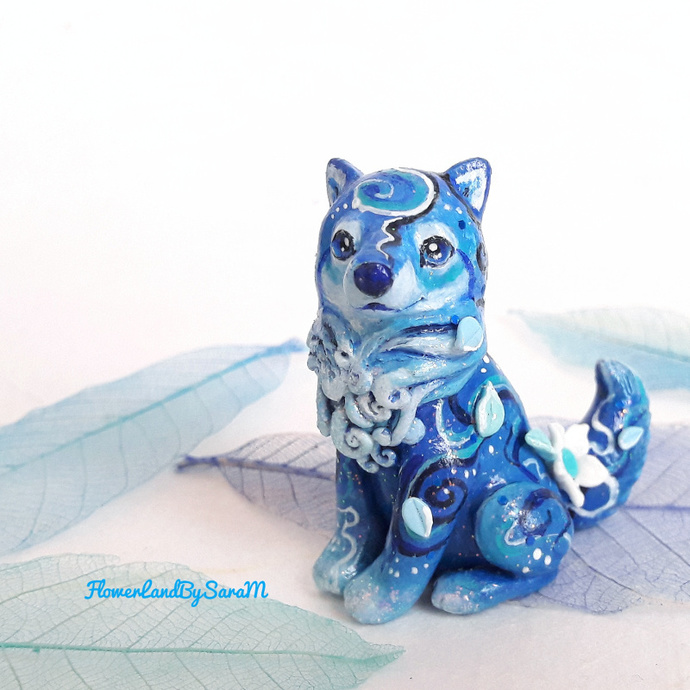 Night wolf figurine. One of a kind.