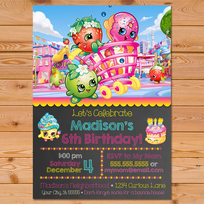 Shopkins Invitation Chalkboard Pink Banner * Shopkins Invite * Shopkins Birthday