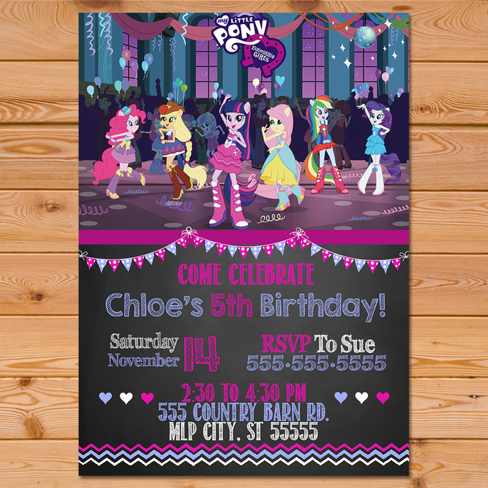 Equestria Girls Invitation Chalkboard Chevron * Equestria Girls Birthday Party *