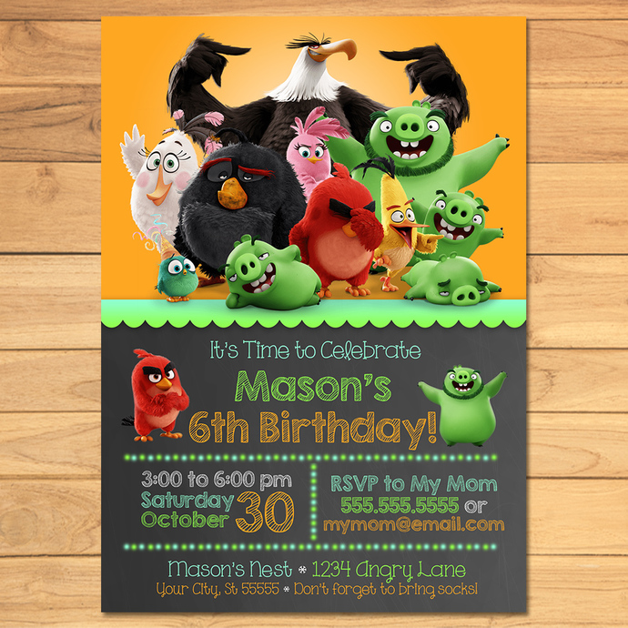 Angry Birds Birthday Invitation Chalkboard Angry Birds Invite Angry Birds Birthday Angry Birds Printables