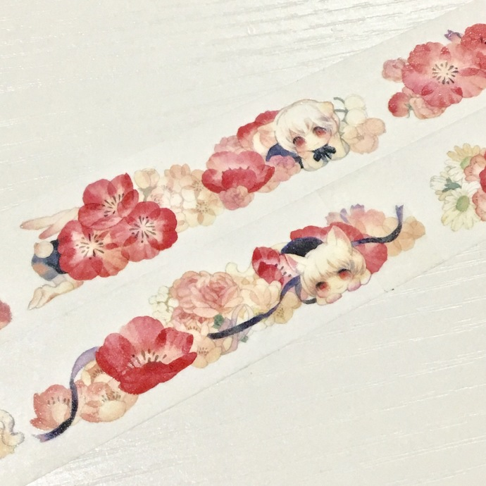 1 Roll of Limited Edition Washi Tape: Little Floral Girls