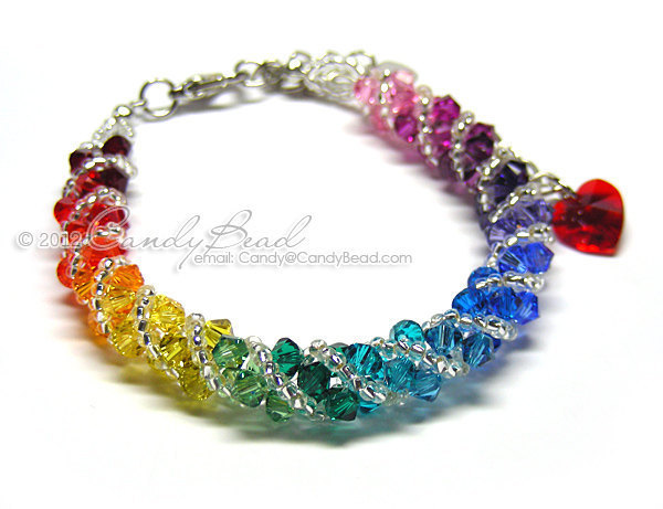 SALE; Size 7 1/2 to 8 1/2 inches; Rainbow bracelet; crystal bracelet; Swarovski