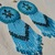 Native American Style Rosette Beaded Turtle Earrings in Baby Blue and Dark