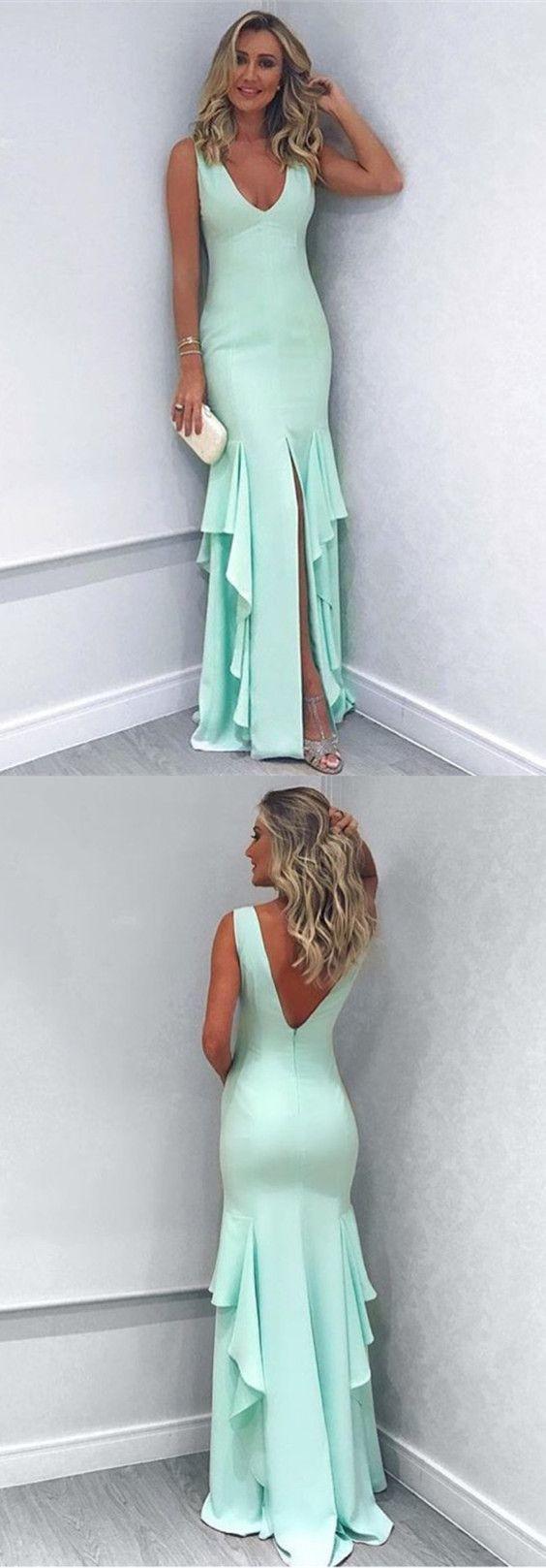 sexy leg slit long mermaid prom dresses by Miss Zhu Bridal on Zibbet