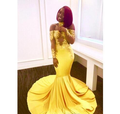 733b3cf058c New Elegant Yellow Off the Shoulder Lace Prom Dresses 2018 Formal Long  Sleeves