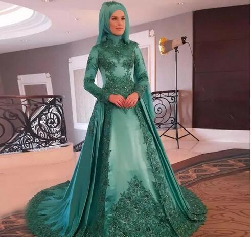 2dd8501d83a Hunter Green Muslim Evening Dresses High Neck Long Sleeves Appliques Sequins
