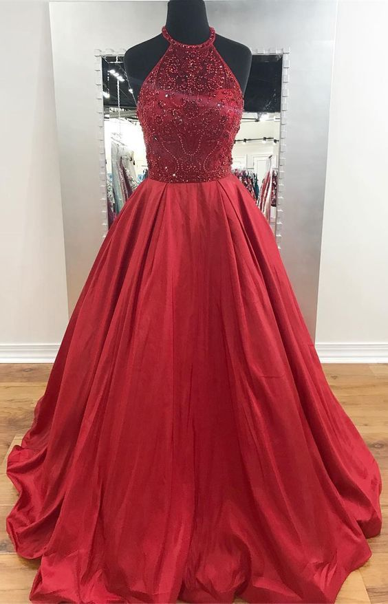 b6bb94c30807 Red A Line Halter Prom Dresses Beaded Pageant Dresses
