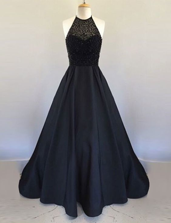 Halter Black Beading Prom Dresses Sweetheart A Line Pageant Dress