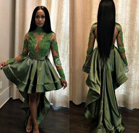 African Olive Green Black Girls High Low by Miss Zhu Bridal on Zibbet
