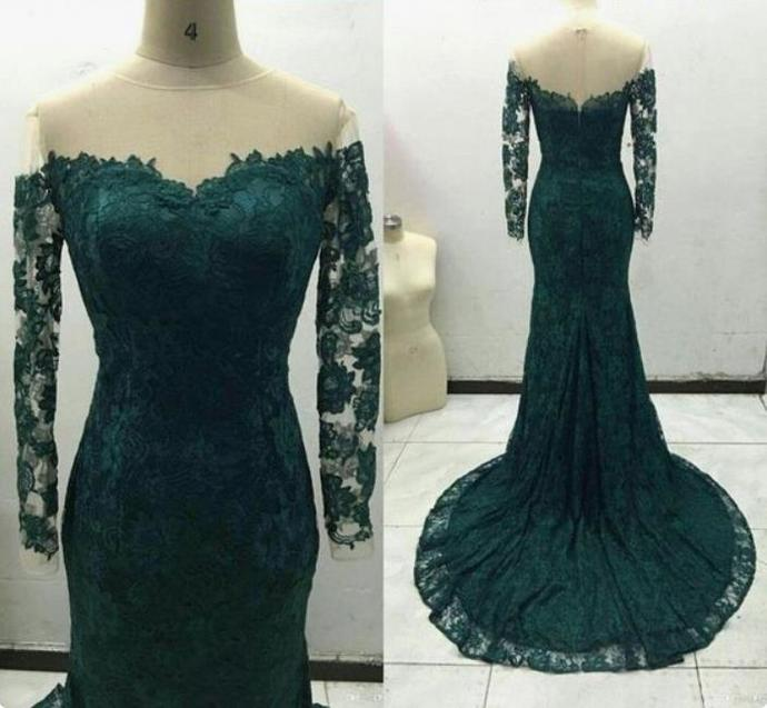 Long sleeve Teal Mermaid Prom Dresses Lace Apllique Pageant Dress