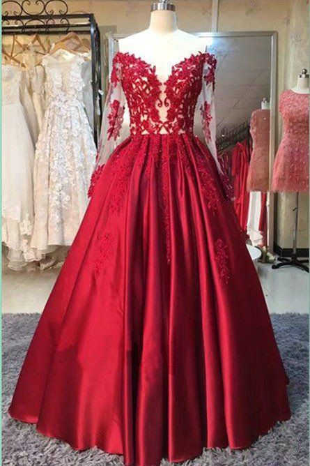 Long Sleeve Red Prom Dress, Appliques Strapless Pageant Dress