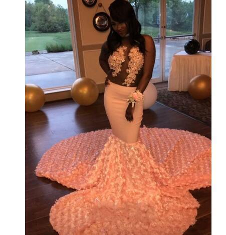 f41799485218c African Peach Mermaid Prom Dresses 2018 Sexy Illusion 3D Rosettes Chapel  Train Prom Gowns Black Girl Evening Party Dress