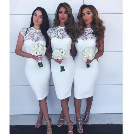 White Short Bridesmaid Dresses 2018 Jewel Cap Sleeves Lace And Satin Mermaid f70b5ea17a1d