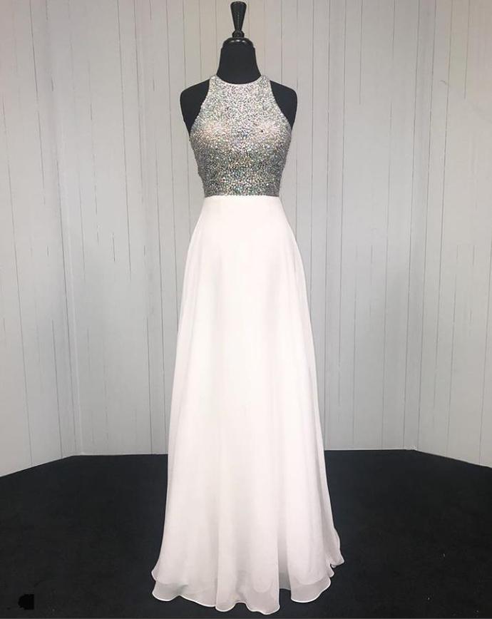 Long White Beaded Halter Prom Dress Evening Pageant Dresses