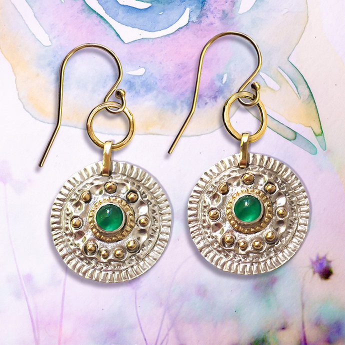 Natural Emerald earrings, Artisan Emerald earrings, 9ct solid Gold Emerald