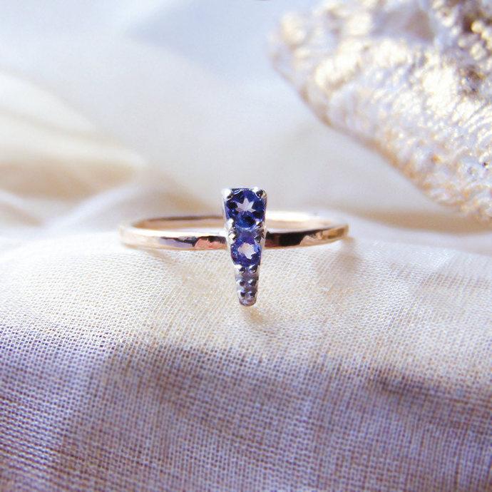 Natural Tanzanite ring, Tanzanite Yellow gold ring, Minimalist ring, 14ct filled