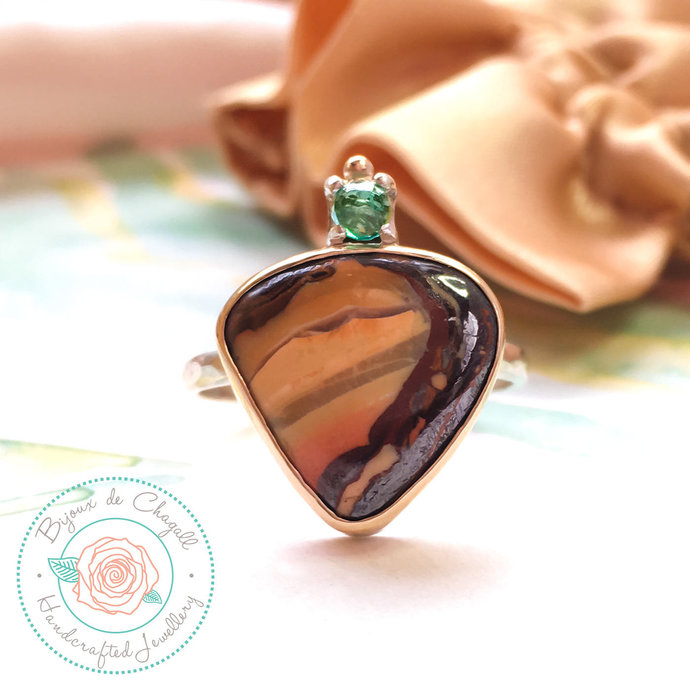 Boulder Opal ring, Australian Opal ring, Gold Opal ring, Art Deco Opal ring,