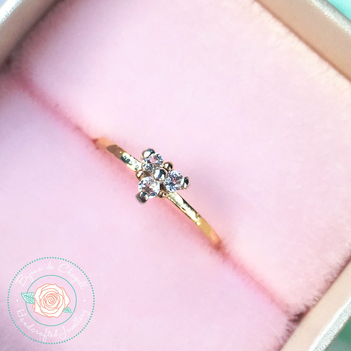 Heart Diamond cluster ring, Brilliant by Bijoux de Chagall on Zibbet