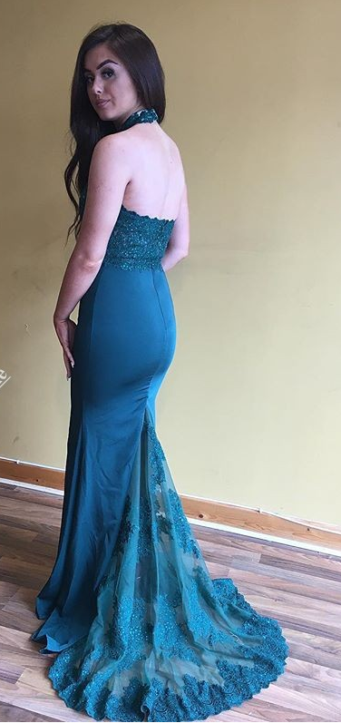 Open Back Prom Dress,Mermaid Hunter Bridesmaid Dress,Halter Neckline Formal
