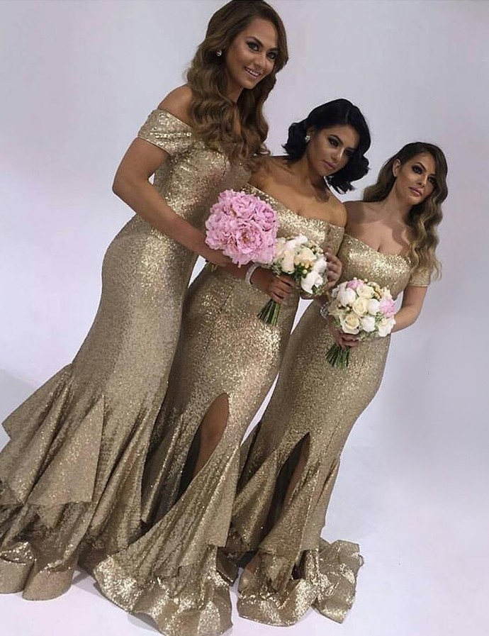Gold Sequin Off the Shoulder Mermaid Bridesmaid Dresses for Wedding