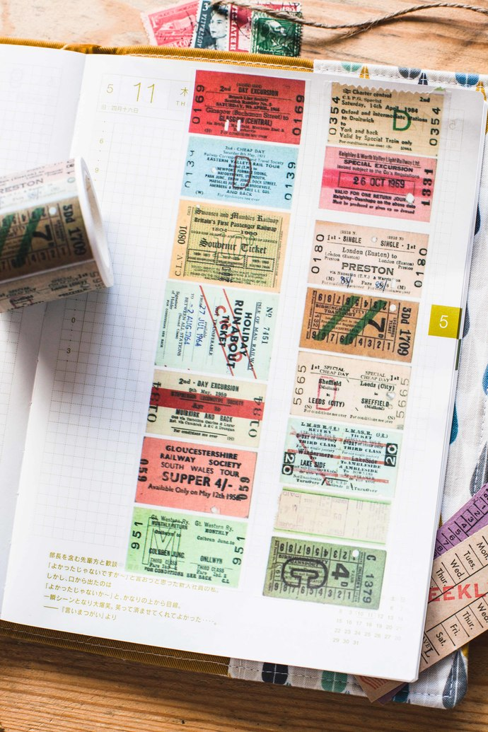 Vintage British tickets - 4 cm wide washi tape 10m - perfect for Travelers