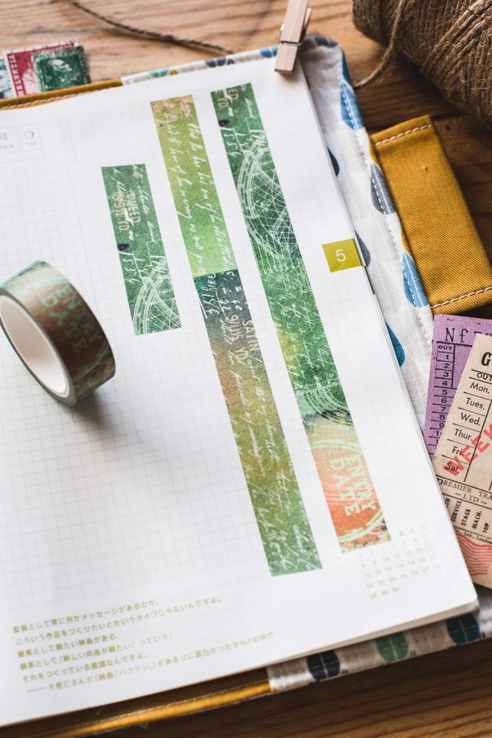 Satin & Tweed - 1.5 cm wide washi tape 10m - perfect for Travelers Notebook