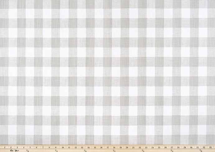 French Grey and white in Buffalo Plaid fabric. Print Fabric By Yard. Premier