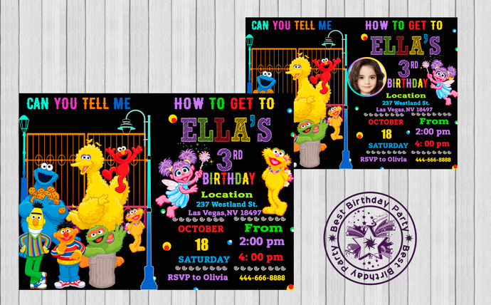 Sesame Street Invitation Birthday Girl