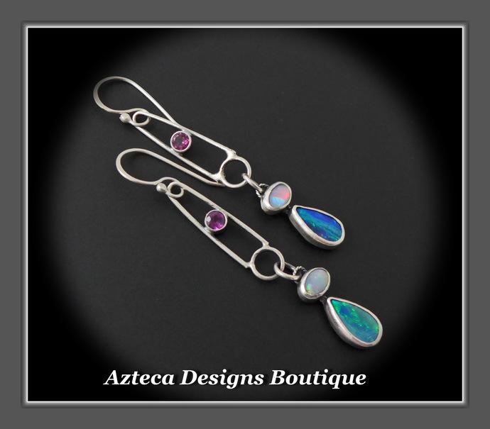 Summer Heat~ Australian Opal Doublet Coober Pedy Opal Rhodolite Garnet Hand