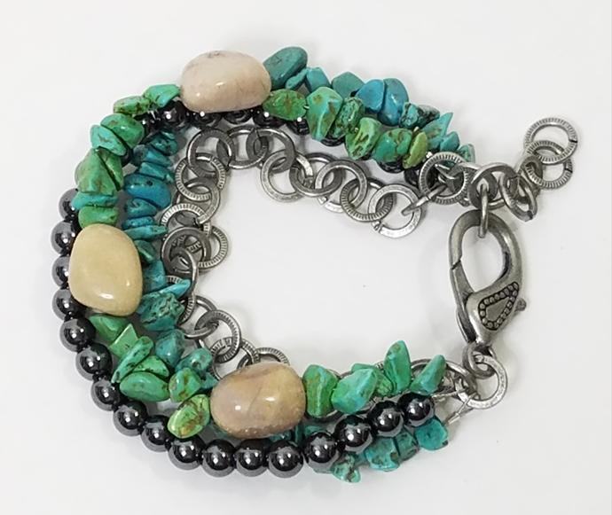 Howlite Turquoise Hematite Gemstones River Stones Multi Strand Boho Bracelet