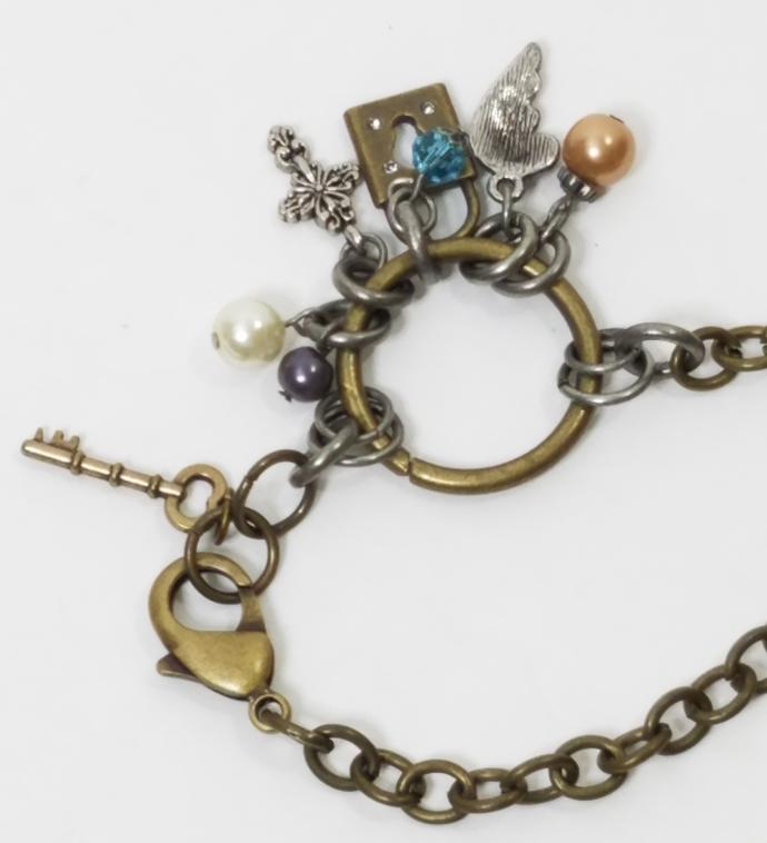 Handmade Antique Silver and Brass Charm Bracelet, Keyhole, Key, Pearl, Cross