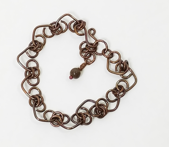 Handcrafted Copper Heart Bracelet - Danty Heart Bracelet - Jasper Gemstone Charm