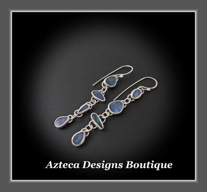 Spring Run~ Australian Opal Doublet Hand Fabricated Silver Artisan Earrings